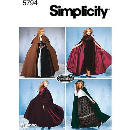 Simplicity Misses' Size XS-L Capes Pattern, 1 Each