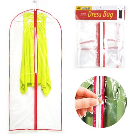 3 Clear Foldable Garment Bag For Suit Dress Jacket Cover