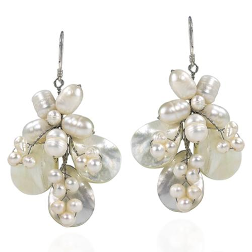 Butterfly Mother of Pearl and Pearl .925 Silver Earrings (Thailand)