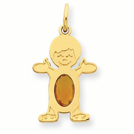 14K Yellow Gold 6 x 4 Oval Genuine Citrine November Birthstone Boy Charm Pendant