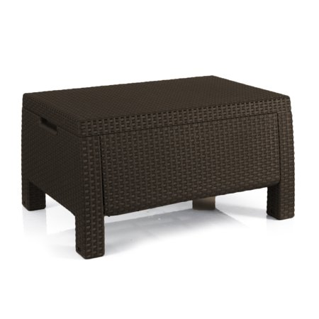 Keter Bahamas Storage Coffee Table Brown Resin Outdoor Patio Furniture