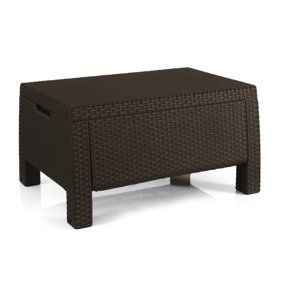 Patio Outdoor Wicker Coffee Table With Aluminum Frame Square Glass