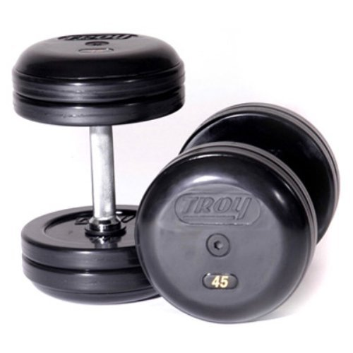 Troy Barbell Fixed Pro-Style Dumbbells with Straight Handle and Rubber Encased Plate