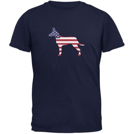 - 4th of July Patriotic Dog Jack Russel Terrier Navy Adult T-Shirt