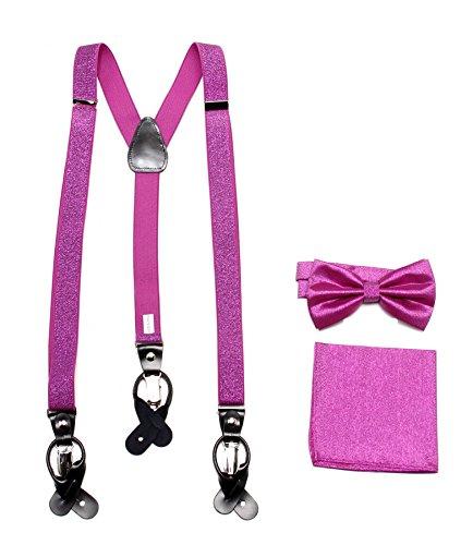 New Y back Men/'s Vesuvio Napoli Suspenders Bowtie Hankie clip on light pink