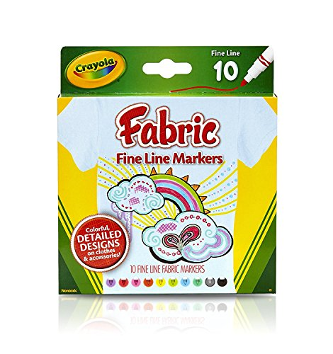 Crayola Fine Line Fabric Markers, 10 Count (24 Pack)