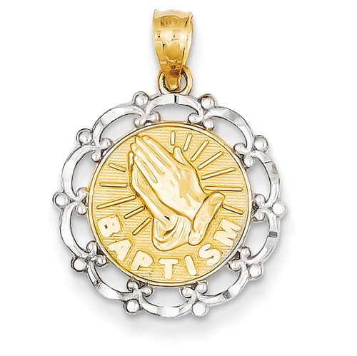 14k Yellow Gold Rhodium Plated Baptism Pendant