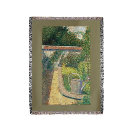 The Watering Can - Garden at Le Raincy - Masterpiece Classic - Artist: Georges Seurat c. 1883 (60x80 Woven Chenille Yarn Blanket)