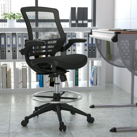 Flash Furniture Mid-Back Transparent Black Mesh Drafting Chair with Black Frame and Flip-Up Arms
