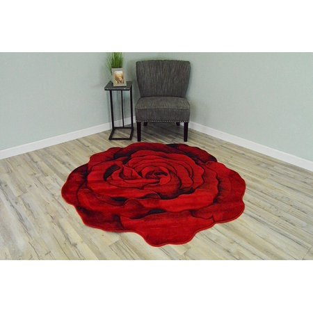 - FLOWERS 3D Effect Hand Carved Thick Artistic Floral Flower Rose Botanical Shape Area Rug Design 304 Red 6'6''x6'6'' Round
