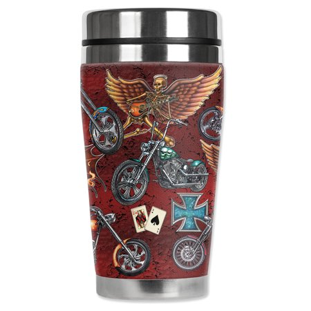 Mugzie brand 16-Ounce Stainless Steel Travel Mug with Insulated Wetsuit Cover - Bikes & (Bike Travel Cover)
