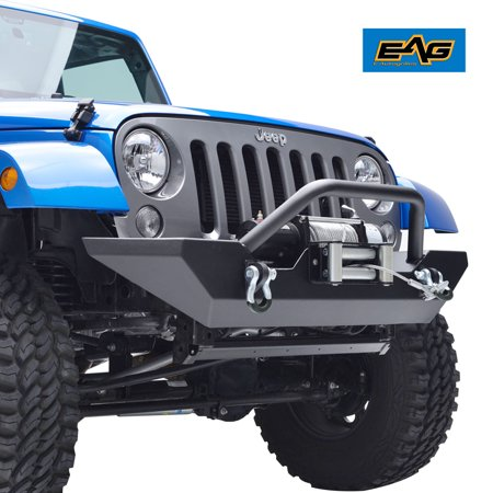 EAG EAG Front Bumper with Winch Plate and D-rings for 07-18 Jeep Wrangler JK Rock - Jeep Wrangler Winch Mounting
