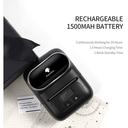 Phomemo-M110 Label Maker - Portable Bluetooth Thermal Label Printer Apply to Clothing, Jewelry, Retail, Mailing, Barcode and More, Compatible for Android & iOS System, with 1 40×30mm Label Roll, Bla - image 3 de 5