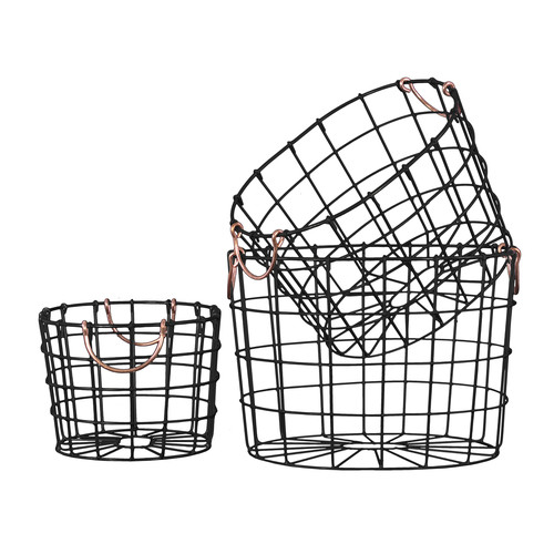 Urban Trends Collection: Metal Hand Basket, Coated Finish, Black