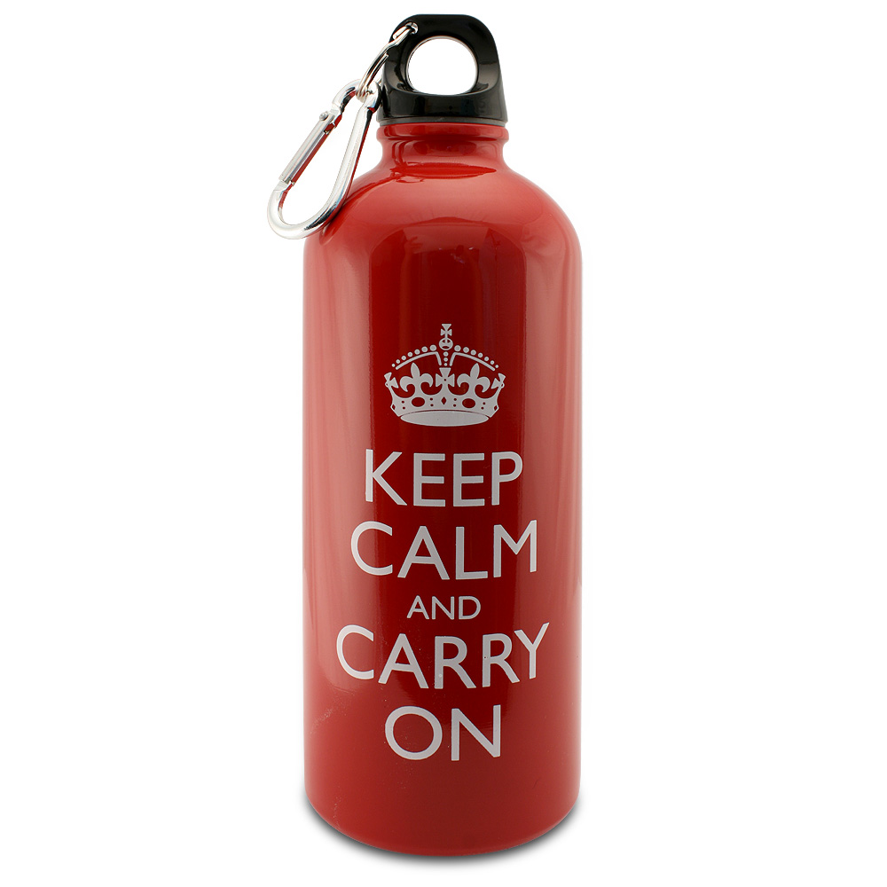 Keep Calm And Carry On 20 Oz Stainless Steel Water Bottle Red