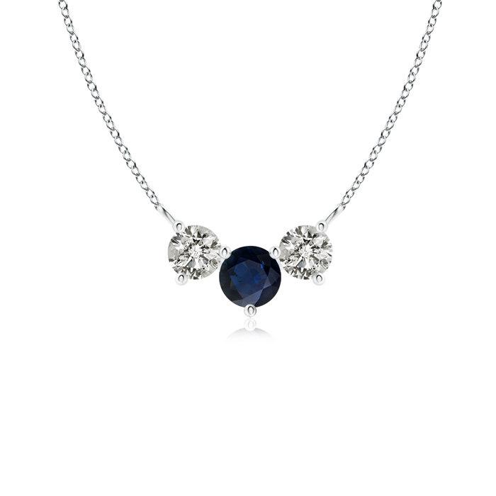 Trio Sapphire and Diamond Necklace Past Present Future in Platinum (4mm Blue Sapphire) by Angara.com