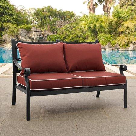 Crosley Portofino Cast Aluminum Love Seat, Charcoal Black Finish with Sangria Cushions