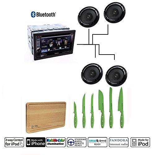 "Kenwood DDX-372BT Double DIN Bluetooth In-Dash DVD AM FM Car Stereo w  6.2"" with 2 Pairs of Kenwood KFC-1665S Sport... by Kenwood"