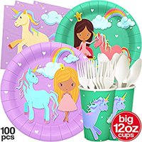 Princess and Unicorn Party Plates Big Cups Napkins Unicorn Party Supplies Princess Party Supplies 16 Guests Birthday Party Decorations Kids Theme Princess Unicorn Magical Rainbow Decor