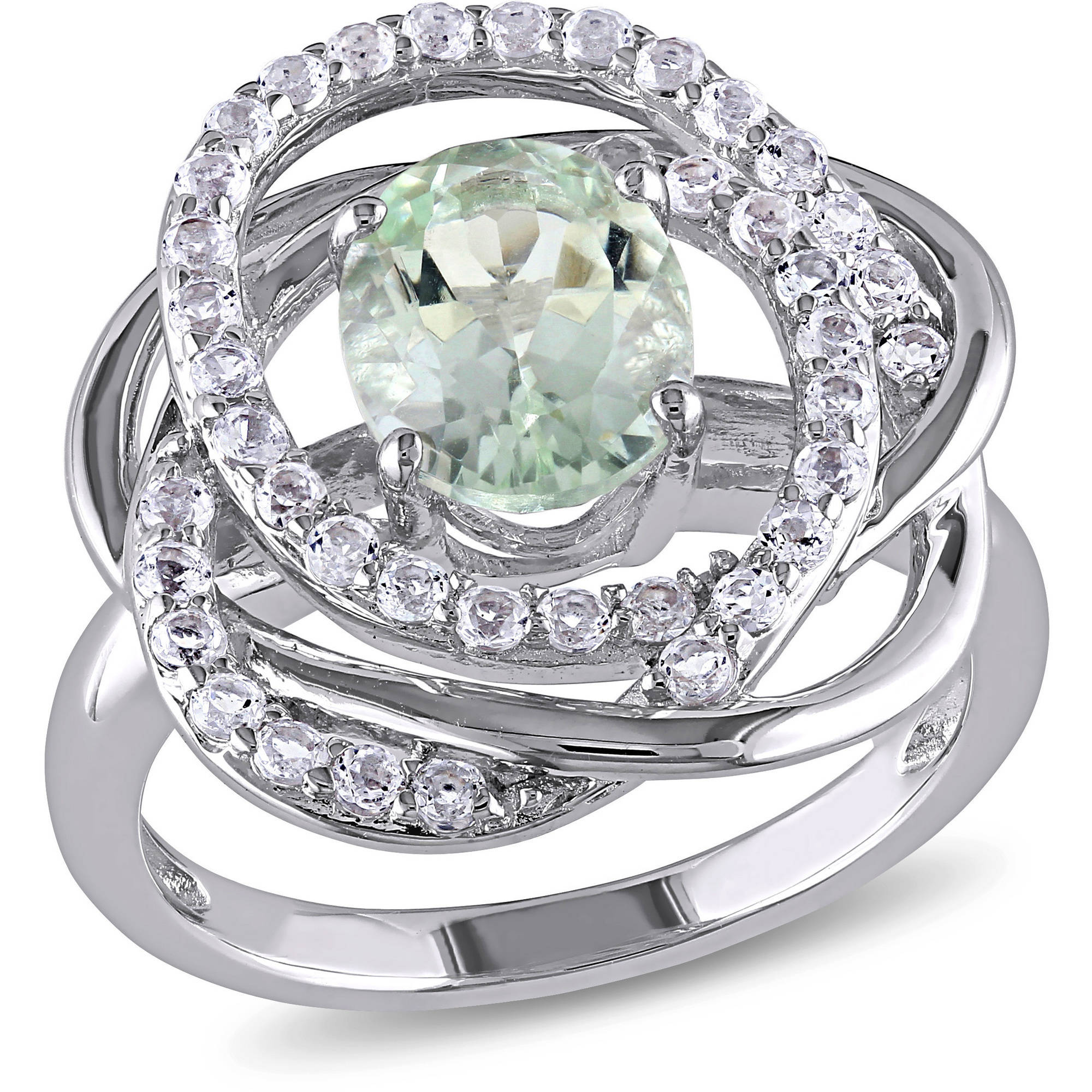 2-7/8 Carat T.G.W. Green Amethyst and White Topaz Sterling Silver Cocktail Ring