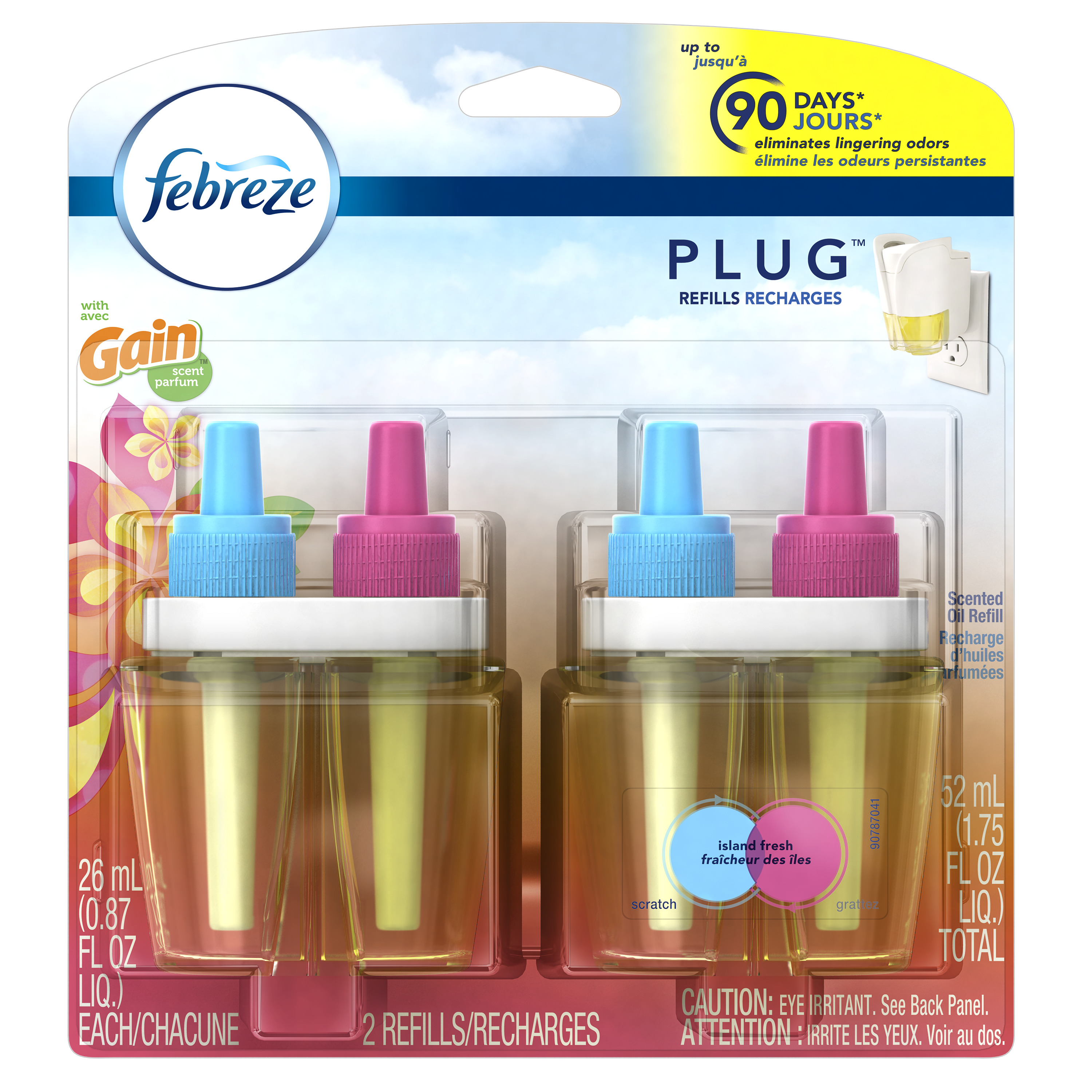 Febreze PLUG Air Freshener Refills with Gain Island Fresh (2 Count, 1.75 oz)