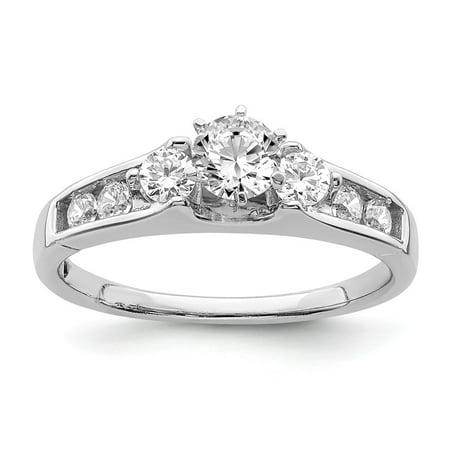 Lab Grown Diamond Ring 14k White Gold Round Cut Lab Created Diamond Diamond Engagement Ring Size