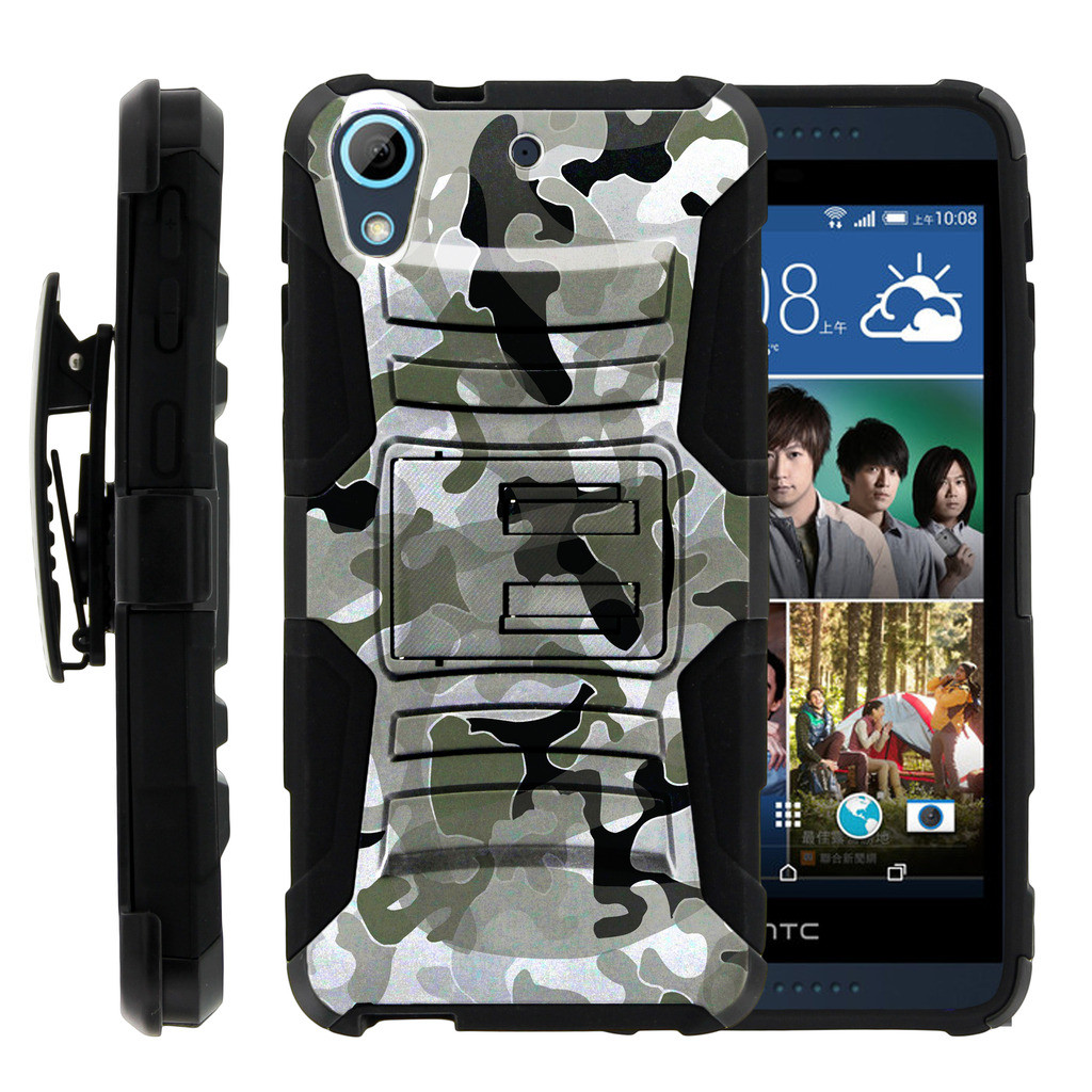 HTC Desire 626 Case | HTC Desire 626 Holster Case [ Clip Armor ] HTC 626 Dual Layered Case with Kickstand + Belt Clip - Swamp Camouflage