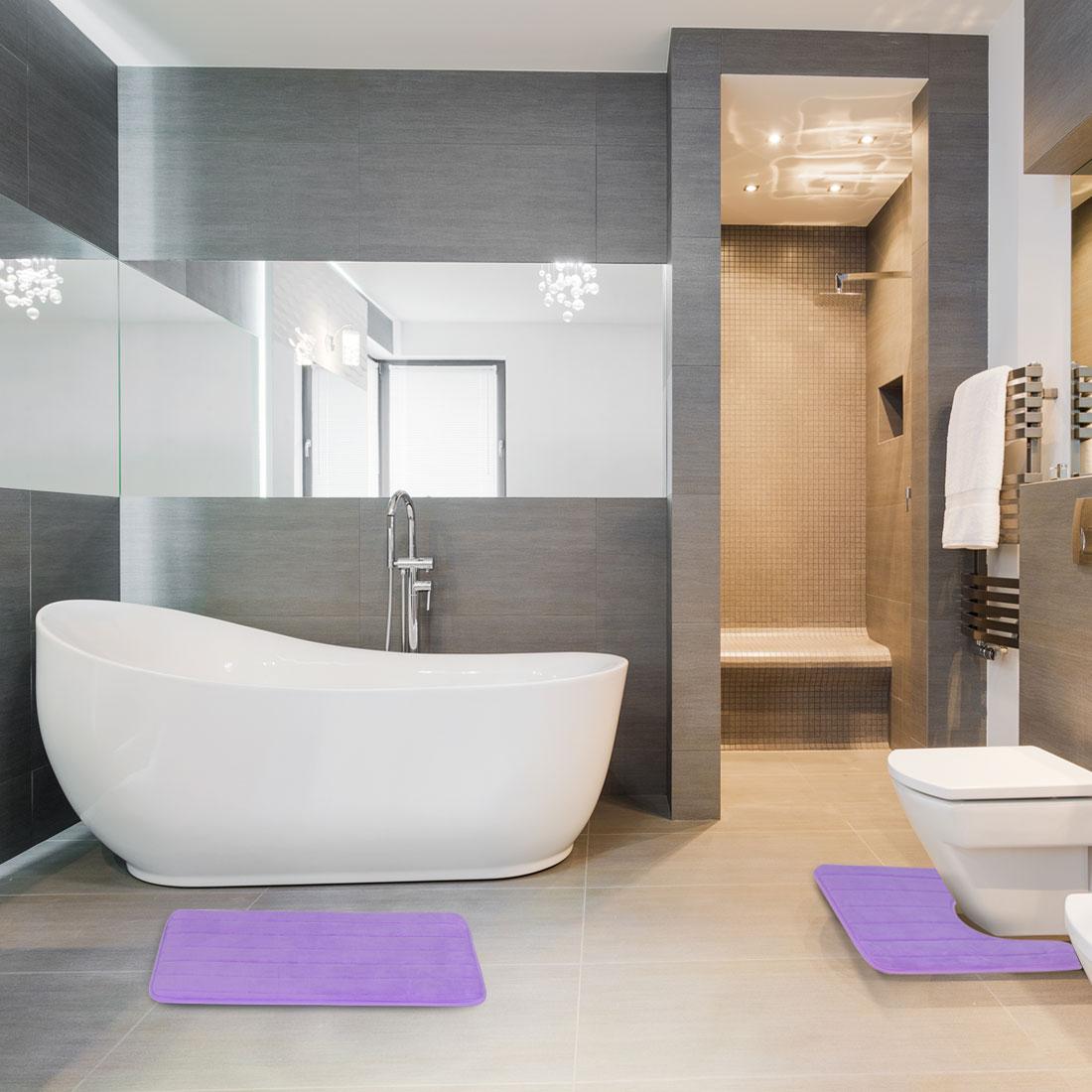 Home 2-Piece Memory Foam Bath Mat Set Non-slip Toliet Bath Rugs Carpet