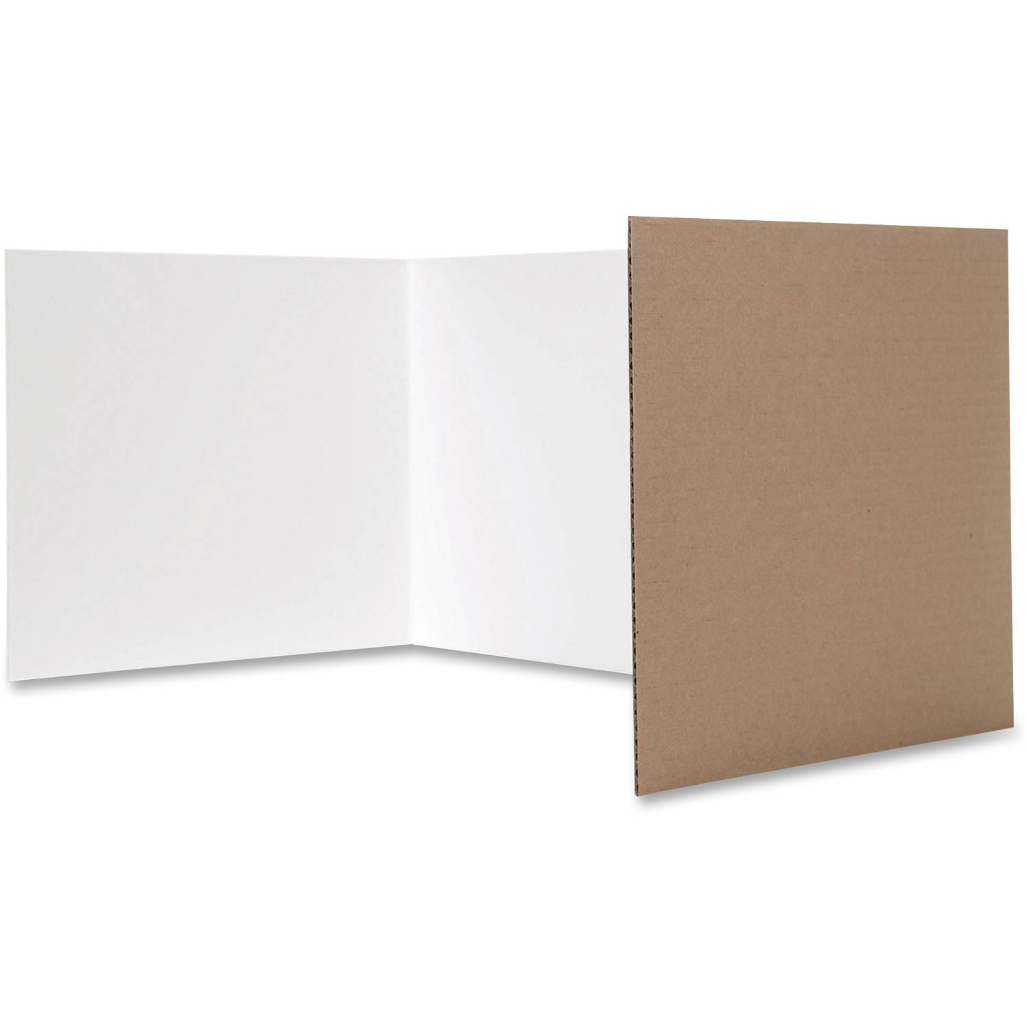 Flipside White Tri-Fold Study Carrel, Pack of 24, White