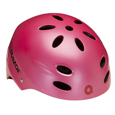 Razor V17 Youth Bike Helmet, Satin Pink Pink Riding Helmet