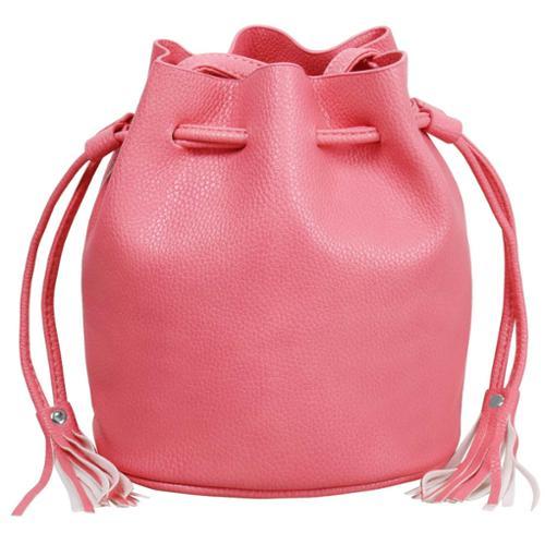 BMC Womens Pink Textured Faux Leather Drawstring Style Cinch Sack Mini Handbag