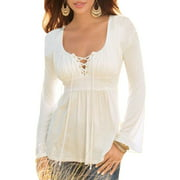 Multitrust Womens V Neck Baggy Loose Cotton Tops T Shirt Plus Size Long Sleeve Tunic Blouse