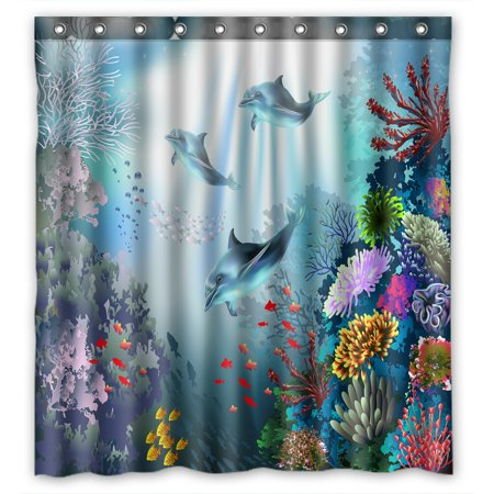 PHFZK Cute Animal Shower Curtain, Underwater World with Dolphins and Plants Polyester Fabric Bathroom Shower Curtain 66x72 inches
