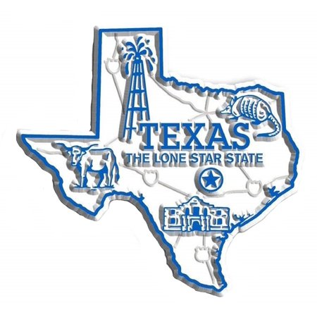 - Texas the Lone Star State Map Fridge Magnet