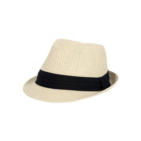 Straw Black Banded Fedora Hat - Ivory