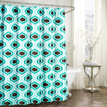 Letto Faux Linen Textured Shower Curtain With Metal Roller Hooks