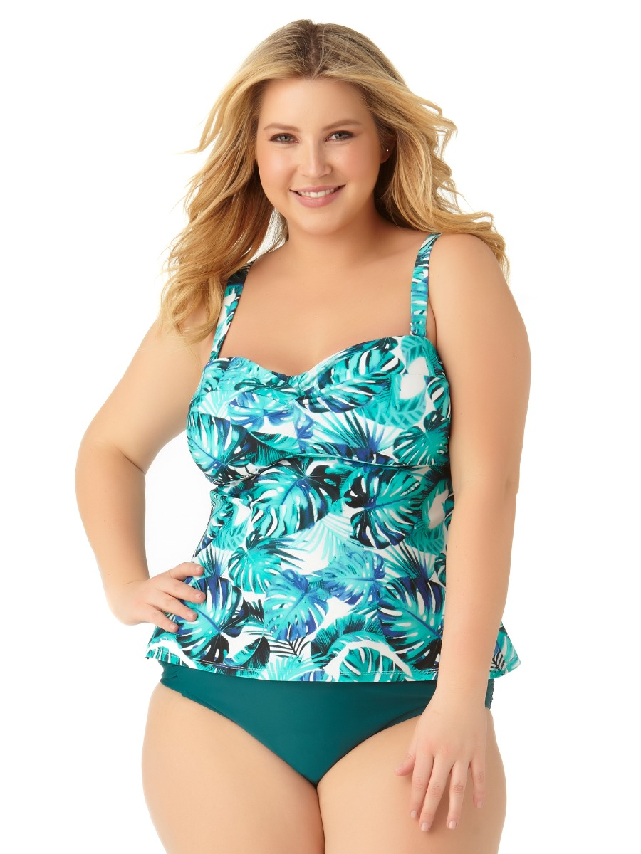 Catalina Women's Plus Size Leaf Twist Bandeau Tankini Swim Top by Catalina Plus
