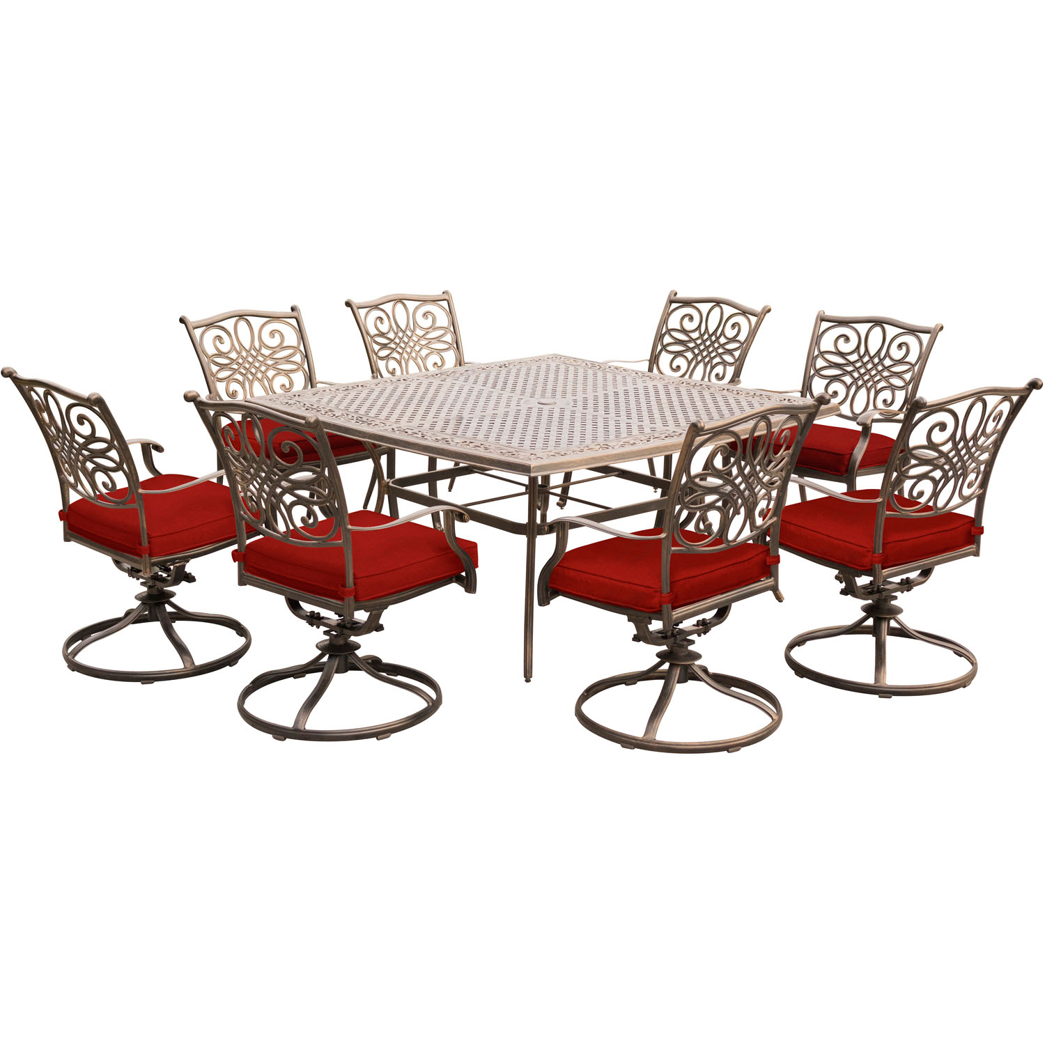 Hanover Traditions 9-Piece Outdoor Dining Set with Square Cast-Top Table and 8 Swivel Rockers