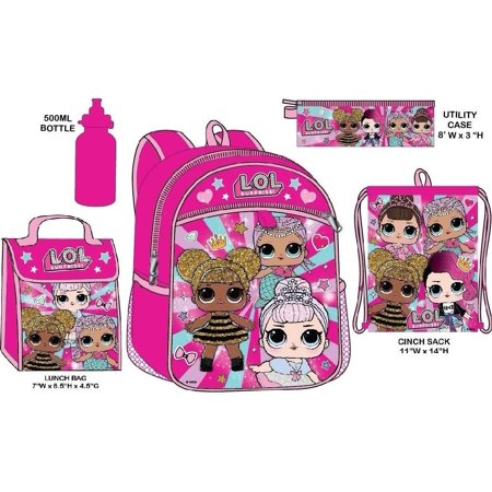 LOL Surprise Backpack With Lunchkit Set Girls School Water