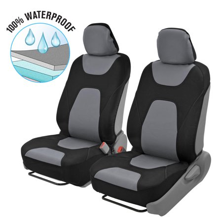Motor Trend 3 Layer Waterproof Car Seat Covers - Modern Sideless Quick Install Auto Protection (Black & Gray)