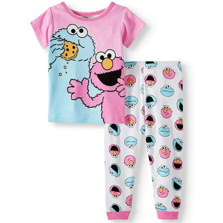 Sesame Street, Baby Girls, Cotton Tight Fit Pajamas, 2Pc Set