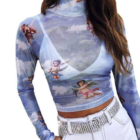 Angels Print T-shirt - Fancyleo Fancyleo Women's Long Sleeve Mock Neck Angel Print Sexy Sheer Mesh Crop Top Comfort