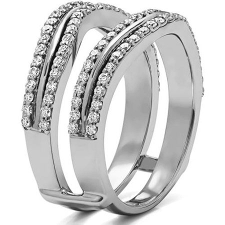 twobirch personalized double row wedding ring guard enhancer - Wedding Ring Guard