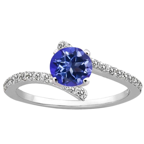 1.31 Ct Round Purple Blue Mystic Topaz Diamond 18K White Gold Ring