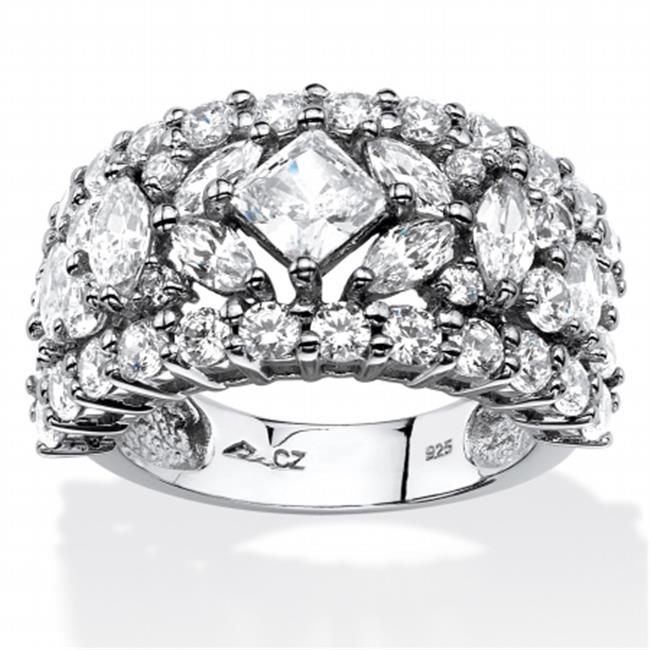 Palm Beach Jewelry 5575610 4. 12 TCW Princess and Marquise-Cut Cubic Zirconia Wedding Band, Platinum Over 0. 925 Sterling