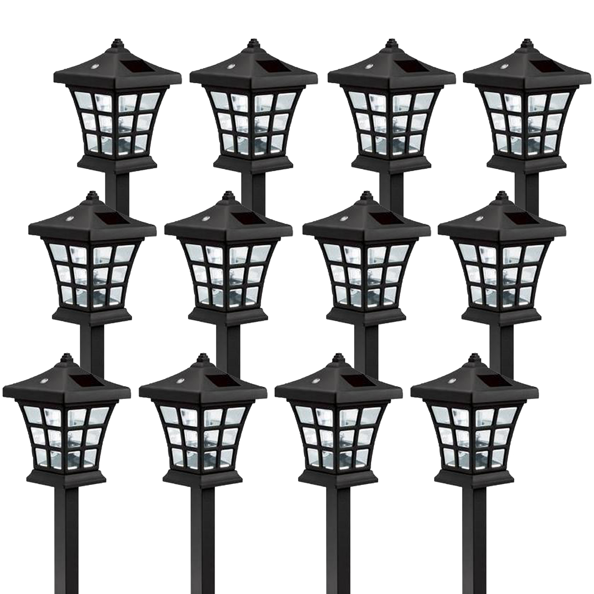 12 Pack Westinghouse Venture Black Solar Outdoor Garden Path LED Stake Light