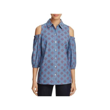 Foxcroft Womens Chambray Diamond Print Button-Down - Foxcroft Fitted Print Shirt