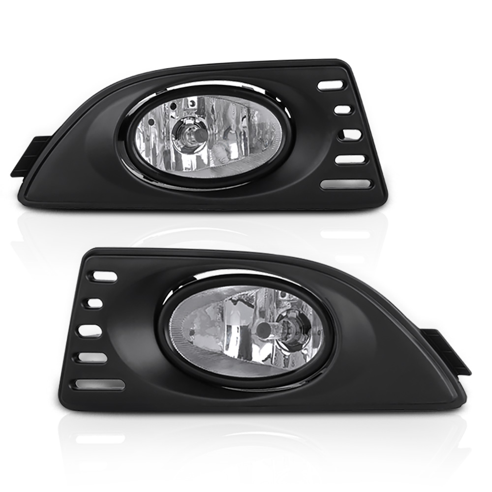 VIPMOTOZ Chrome Housing OE-Style Front Fog Light Driving Lamp Assembly For 2005-2006 Acura RSX - Bezel & Universal Wiring Included, Driver & Passenger Side