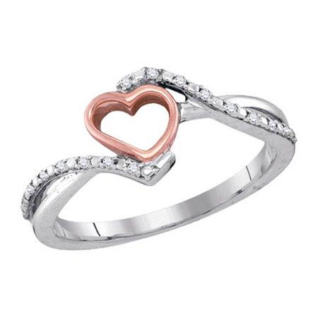 Ladies Valentine Two Tone Gold Micro Pave Diamond Heart Fashion - Valentine Ring