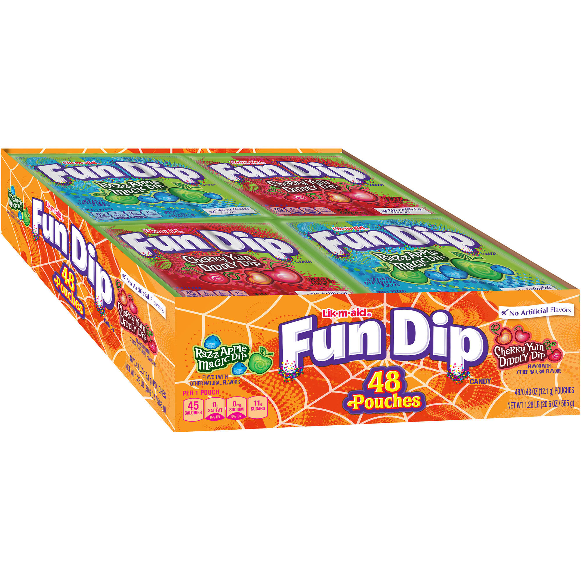 Lik-m-aid Fun Dip Assorted Treat Size Halloween Candy Pouches, 48 count, 20.6 oz